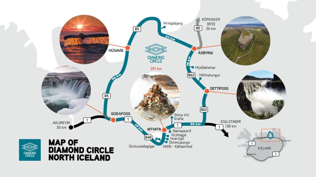 A map of the Diamond Circle route in north Iceland